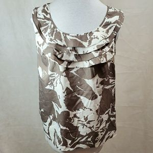 The Limited Floral Sleeveless Ruffel Neck Top M